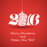 Merry Christmas and Happy New Year Greeting Card, Creative Design Template - 2016 Stock Photography