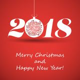 Merry Christmas and Happy New Year Greeting Card, Creative Design Template - 2018. Best Wishes - Abstract Colorful Modern Styled Happy Holidays Cover or Stock Images