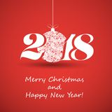 Merry Christmas and Happy New Year Greeting Card, Creative Design Template - 2018. Best Wishes - Abstract Colorful Modern Styled Happy Holidays Cover or Royalty Free Stock Photo