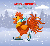Merry Christmas and Happy New Year Greeting Card with Cute Funny Rooster Ice Skating. Under the Snow Vector Illustration Royalty Free Stock Images