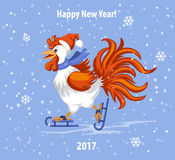 Merry Christmas and Happy New Year Greeting Card with Cute Rooster Ice Skating. Under the Snow Vector Illustration Royalty Free Stock Images