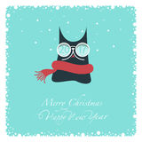 Merry Christmas and Happy New Year. Greeting card. Dark cat in a knitted red scarf and glasses white. On glasses the numbers: two, zero, one ,seven. From the Royalty Free Stock Photo