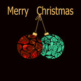 Merry Christmas and happy new year greeting card with decoration. S on black background Royalty Free Stock Photos
