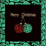 Merry Christmas and happy new year greeting card with decoration. S on black background Royalty Free Stock Images