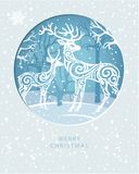 Merry Christmas card with Deers in forest royalty free illustration