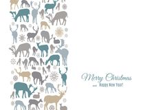 Merry Christmas and Happy New Year greeting card with deers and snowflakes pattern vertical border on white Royalty Free Stock Photography