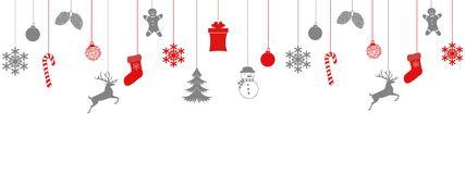 Merry Christmas and Happy New Year greeting card design template layout on white background with hanging toy, sock, gift, feer, royalty free illustration