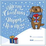 Merry Christmas and Happy New Year greeting card with dog Royalty Free Stock Photography