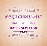 Merry Christmas and Happy New Year greeting card festive inscription with ornamental elements on bokeh vintage background, vector. stock illustration