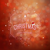 Merry Christmas and Happy New Year greeting card festive inscription with ornamental elements on bokeh vintage background, vector vector illustration