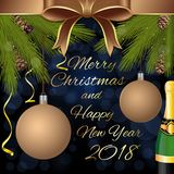 Merry Christmas and Happy New Year 2018. Greeting card with fir branches, Christmas balls and bottle of champagne. Vector illustration Stock Photo