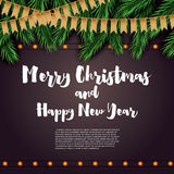 Merry Christmas and Happy New Year. Greeting Card with Fir Branches, Neon Garland and Golden Flags. Vector Illustration Royalty Free Stock Photography