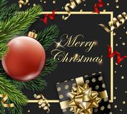 Merry Christmas and Happy New Year greeting card with fir branches and red ball with decorations on dark background. Vector illustration Stock Image