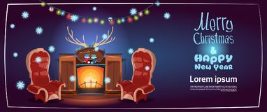 Merry Christmas And Happy New Year Greeting Card, Fireplace Concept. Merry Christmas And Happy New Year Greeting Card, Fireplace Concept Winter Holiday Banner Stock Image