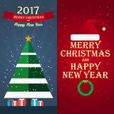 Merry Christmas and Happy New Year 2017. Greeting card,  flat illustration. Merry Christmas and Happy New Year 2017. Greeting card,  flat illustration Stock Image