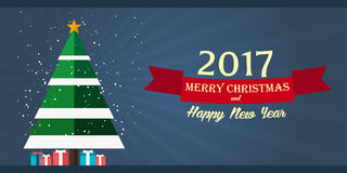 Merry Christmas and Happy New Year 2017. Greeting card,  flat illustration. Merry Christmas and Happy New Year 2017. Greeting card,  flat illustration Royalty Free Stock Photos