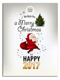 Merry Christmas and Happy New Year 2016 greeting card, in Flat Style. Merry Christmas and Happy New Year 2016 greeting card, illustration royalty free illustration