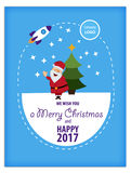 Merry Christmas and Happy New Year 2016 greeting card, in Flat Style. Merry Christmas and Happy New Year 2016 greeting card, vector illustration royalty free illustration