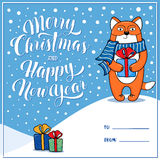 Merry Christmas and Happy New Year greeting card with fox Royalty Free Stock Images