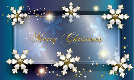 Merry Christmas. And Happy New Year greeting card. Frame decorated with silver snowflakes, stars and glitter, confetti, glass frame on blue night sky background Stock Photos
