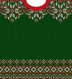 Merry Christmas Happy New Year greeting card frame knitted pattern. Ugly sweater Merry Christmas and Happy New Year greeting card frame border knitted pattern royalty free stock photo