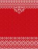 Merry Christmas Happy New Year greeting card frame knitted pattern