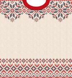 Merry Christmas Happy New Year greeting card frame knitted pattern. Ugly sweater Merry Christmas and Happy New Year greeting card frame border knitted pattern stock illustration