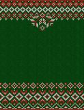 Merry Christmas Happy New Year greeting card frame knitted pattern. Ugly sweater Merry Christmas and Happy New Year greeting card frame border knitted pattern royalty free illustration