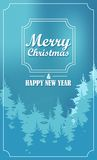 Merry Christmas and happy new year. Greeting card in a frame with nature Stock Illustration