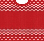 Merry Christmas Happy New Year greeting card frame scandinavian ornaments. Ugly sweater Merry Christmas and Happy New Year greeting card frame border template vector illustration