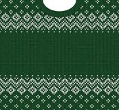 Merry Christmas Happy New Year greeting card frame scandinavian ornaments. Ugly sweater Merry Christmas and Happy New Year greeting card frame border template royalty free illustration