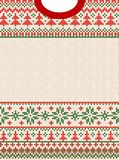 Merry Christmas Happy New Year greeting card frame scandinavian ornaments. Ugly sweater Merry Christmas and Happy New Year greeting card frame border . Vector vector illustration
