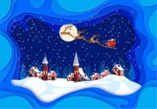 Merry Christmas and Happy New Year. Greeting card in frames with shadows. Santa Claus, moon, snow, houses, church stock illustration