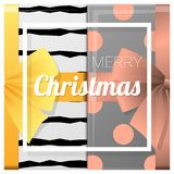 Merry Christmas and Happy New Year greeting card with gift boxes background Royalty Free Stock Photos