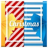 Merry Christmas and Happy New Year greeting card with gift boxes background Stock Photos