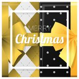 Merry Christmas and Happy New Year greeting card with gift boxes background Stock Images