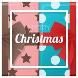 Merry Christmas and Happy New Year greeting card with gift boxes background Stock Image