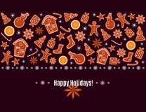 Merry Christmas and Happy New Year greeting card with gingerbread cookies, orange, sparkles and snowflakes border isolated on brow. N background. Vector royalty free illustration