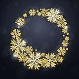 Christmas gold glittering snowflakes background Royalty Free Stock Image