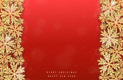 Christmas gold glittering snowflakes background Stock Photos