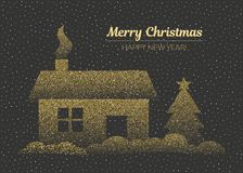 Merry Christmas and happy New Year greeting card in golden colors. Vector illustration on dark background. Merry Christmas and happy New Year greeting card in vector illustration