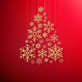 Merry Christmas and Happy New Year greeting card with golden glittering snowflakes Christmas tree on red background. EPS vector illustration