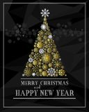 Merry Christmas and Happy New Year greeting card with golden christmas tree Stock Photo