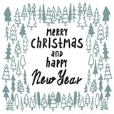 Merry Christmas and Happy New Year greeting card. Hand drawn vector holiday illustration royalty free illustration