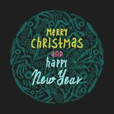 Merry Christmas and Happy New Year greeting card. Hand drawn vector holiday illustration vector illustration