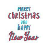 Merry Christmas and Happy New Year greeting card. Hand drawn vector holiday illustration stock illustration