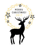 Merry Christmas 2017 and Happy New Year greeting card. With hand drawn vintage deer silhouette. Holiday party banner, invitation. Vector Illustration Royalty Free Stock Photos