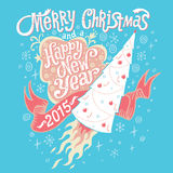 Merry Christmas and Happy New Year 2015 Greeting card with hand lettering typography. Vector illustration. In light blue and pink colors Vector Illustration