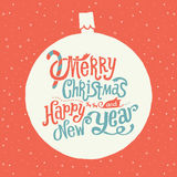 Merry Christmas and Happy New Year Greeting card, Handlettering Typography. Stock Images
