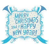 Merry Christmas and Happy New Year Greeting card with Handlettering Typography. Isolated vector on white background Royalty Free Stock Photography